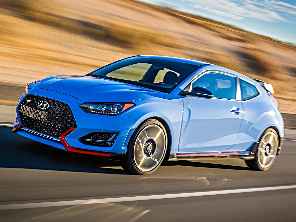 2021 Hyundai Veloster N Blue Front Quarter View