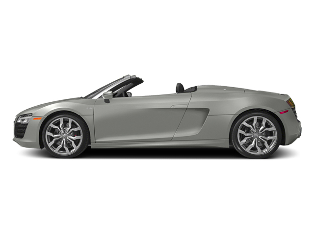 Suzuka Gray Metallic/Black Roof 2014 Audi R8 Pictures R8 2 Door Convertible Quattro Spyder V10 (Manual) photos side view