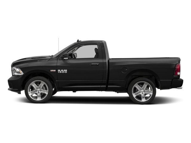 Brilliant Black Crystal Pearlcoat 2017 Ram Truck 1500 Pictures 1500 Night 4x2 Regular Cab 6'4 Box photos side view