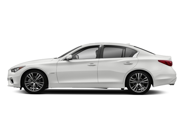 Pure White 2018 INFINITI Q50 Pictures Q50 Hybrid LUXE RWD photos side view