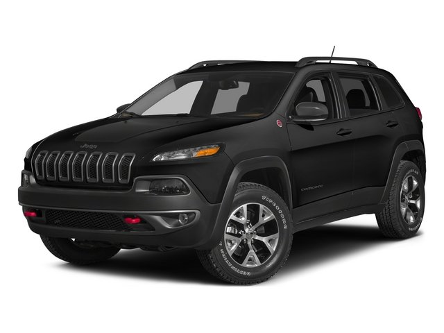 Brilliant Black Crystal Pearlcoat 2015 Jeep Cherokee Pictures Cherokee Utility 4D Trailhawk 4WD photos front view