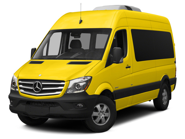 Broom Yellow 2015 Mercedes-Benz Sprinter Passenger Vans Pictures Sprinter Passenger Vans Passenger Van High Roof 4WD photos front view