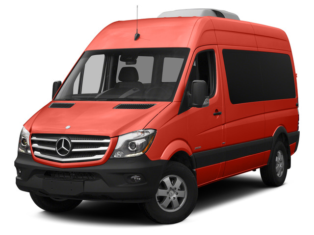 Flame Red 2015 Mercedes-Benz Sprinter Passenger Vans Pictures Sprinter Passenger Vans Passenger Van High Roof 4WD photos front view