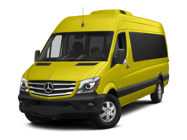 Calcite Yellow 2015 Mercedes-Benz Sprinter Passenger Vans Pictures Sprinter Passenger Vans Extended Passenger Van High Roof 4WD photos front view