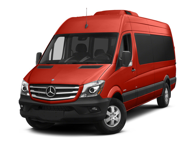 Flame Red 2015 Mercedes-Benz Sprinter Passenger Vans Pictures Sprinter Passenger Vans Extended Passenger Van High Roof 4WD photos front view