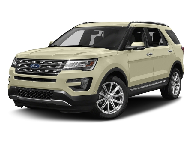 White Gold Metallic 2017 Ford Explorer Pictures Explorer Utility 4D Limited 4WD V6 photos front view