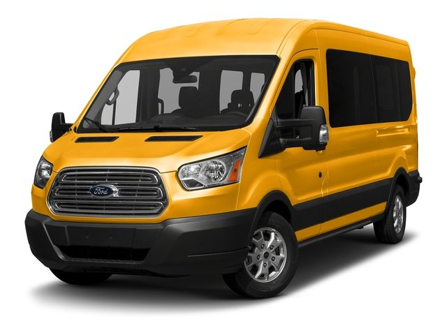 School Bus Yellow 2018 Ford Transit Passenger Wagon Pictures Transit Passenger Wagon T-350 148 Med Roof XL Sliding RH Dr photos front view