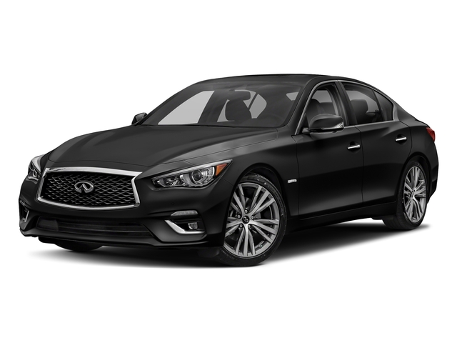 Black Obsidian 2018 INFINITI Q50 Pictures Q50 Hybrid LUXE AWD photos front view