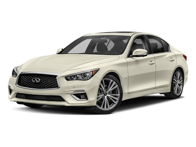 Majestic White 2018 INFINITI Q50 Pictures Q50 Hybrid LUXE RWD photos front view