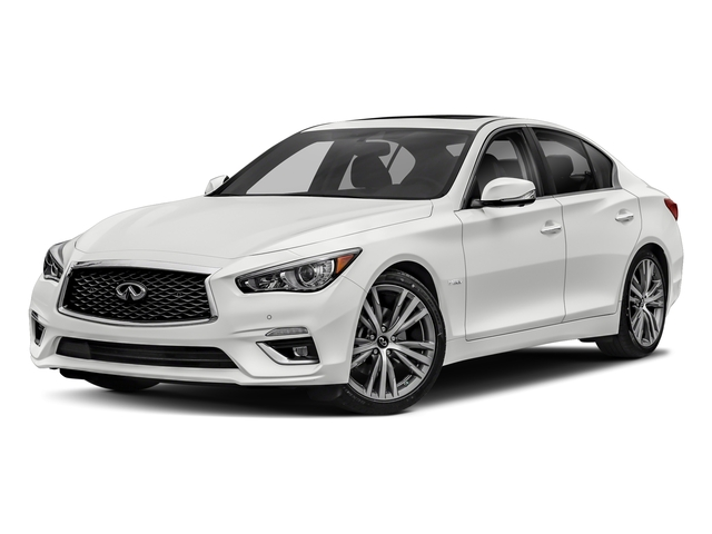 Pure White 2018 INFINITI Q50 Pictures Q50 Hybrid LUXE RWD photos front view