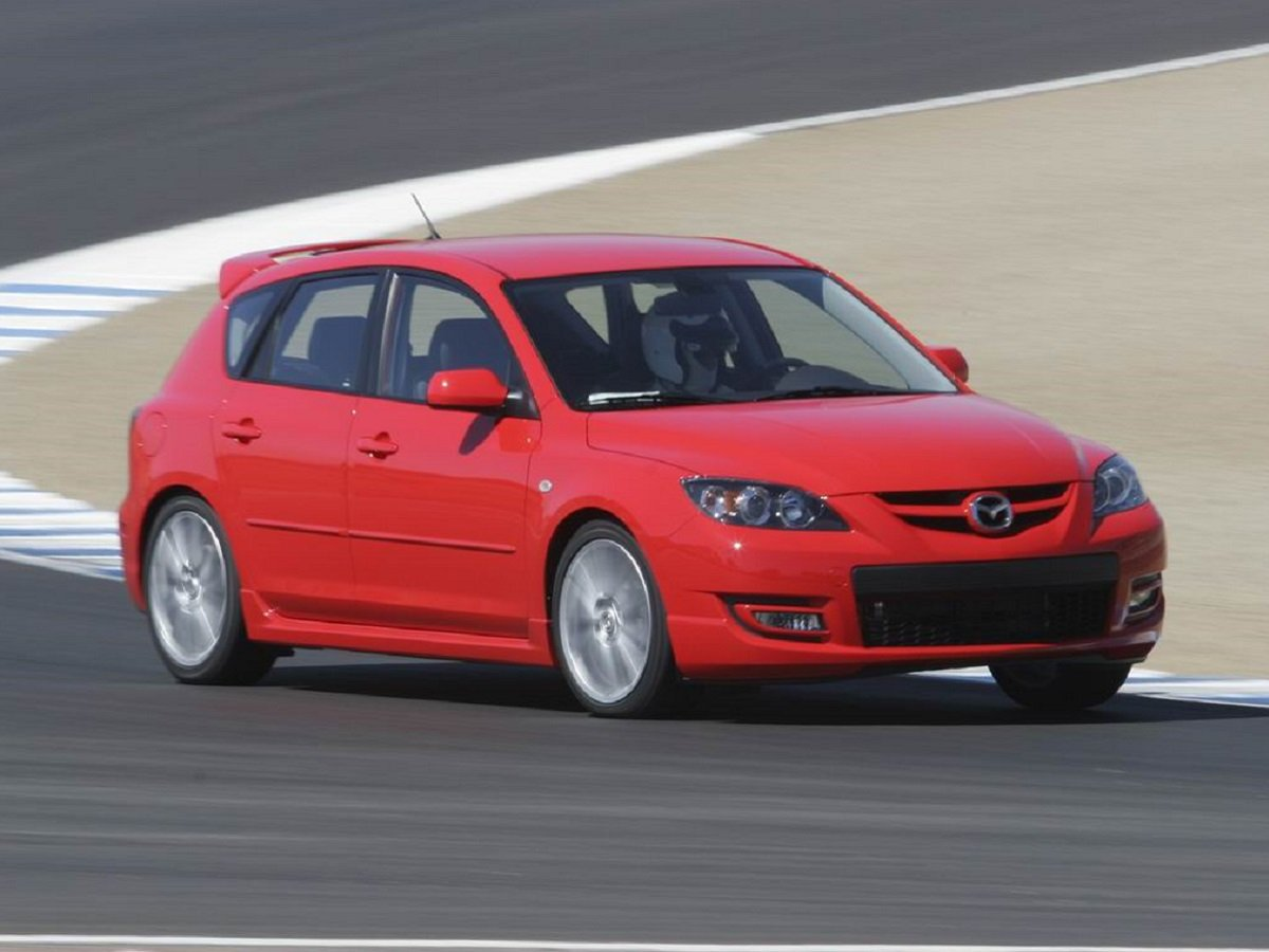 2008 MazdaSpeed3 Red Front Quarter View on Track Torque Steer