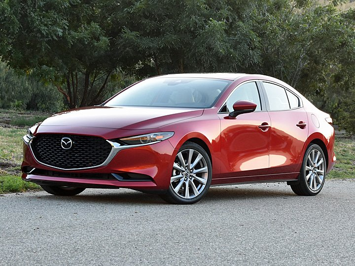 2019 Mazda Mazda3 Premium Sedan Soul Red Front Quarter Large