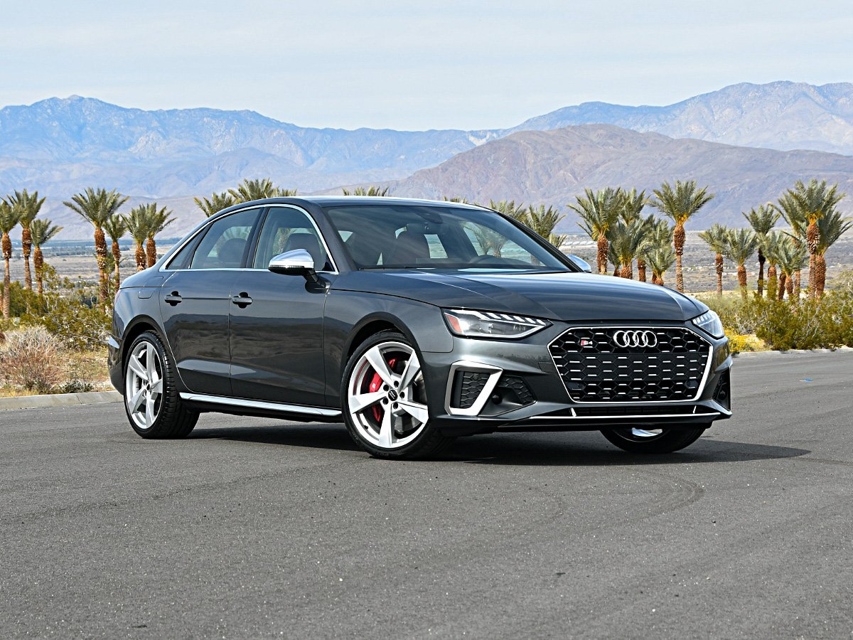 2020 Audi S4 front and side view in gray