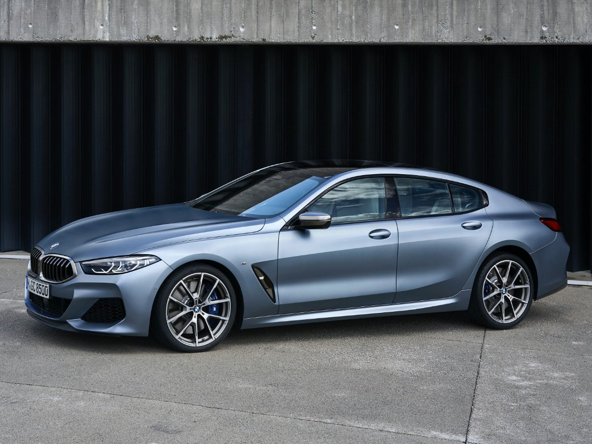 2020 BMW 8 Series Gran Coupe Silver Blue Side View