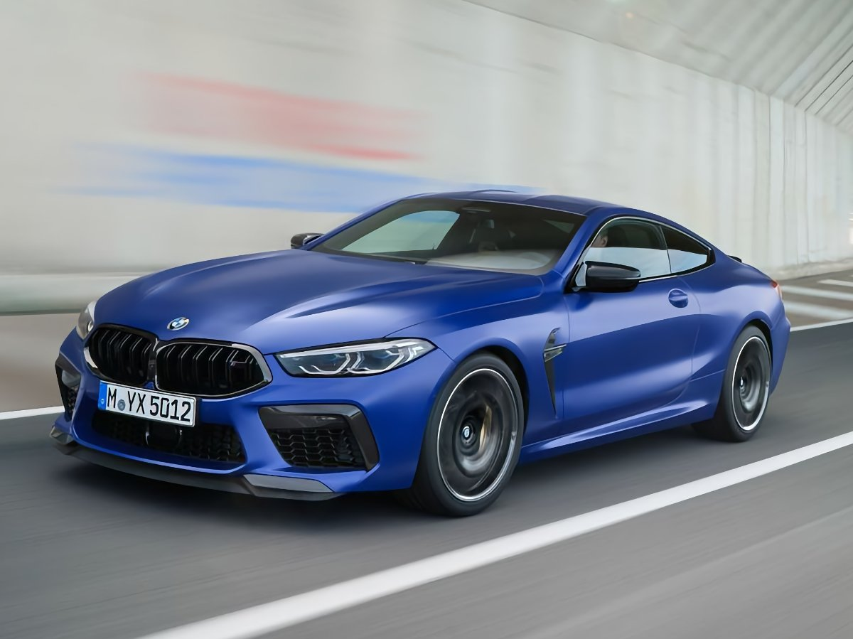 2020 BMW M8 Coupe Blue At Speed