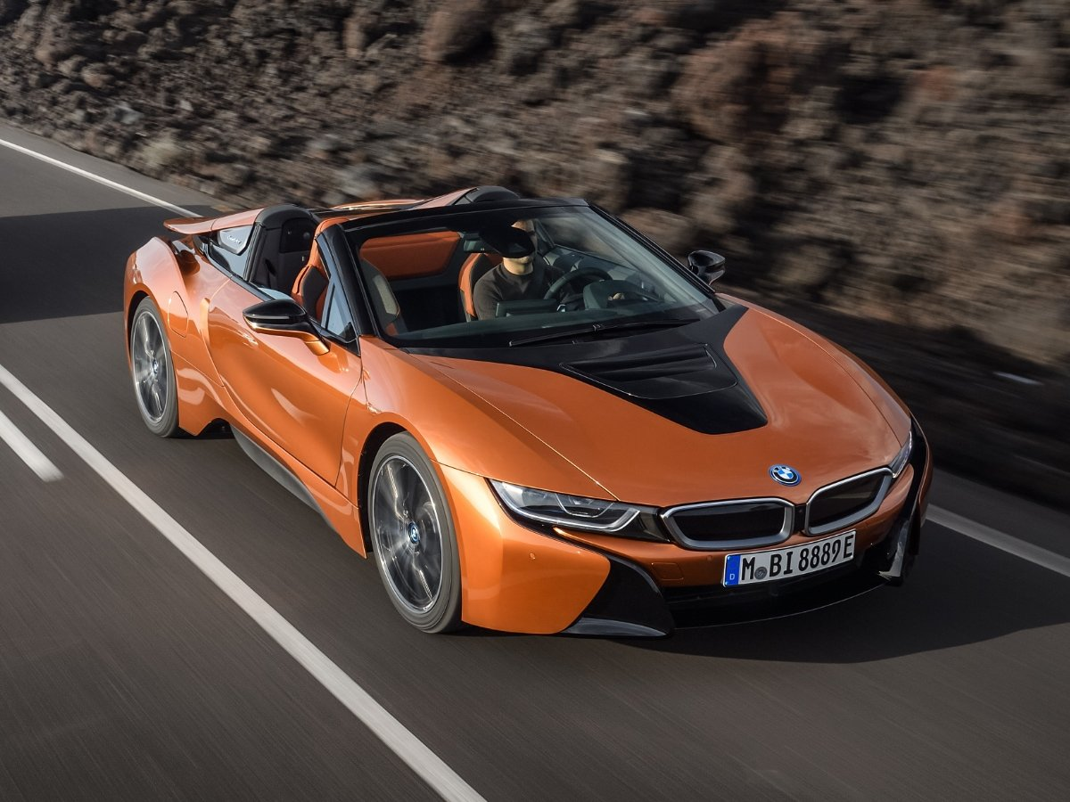 2020 BMW i8 Convertible Orange Front Top View