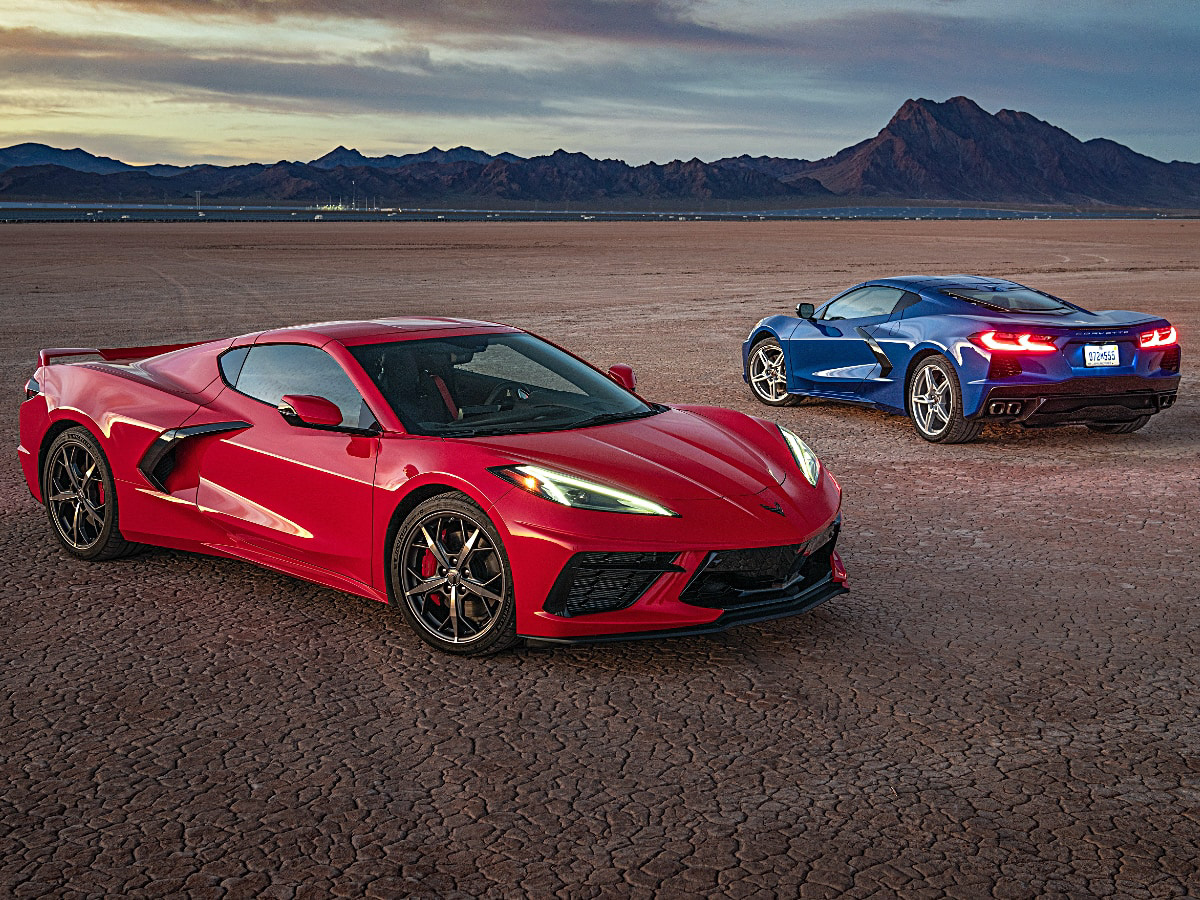 2020 Chevrolet Corvette Stingray Red Front View and Blue Rear View
