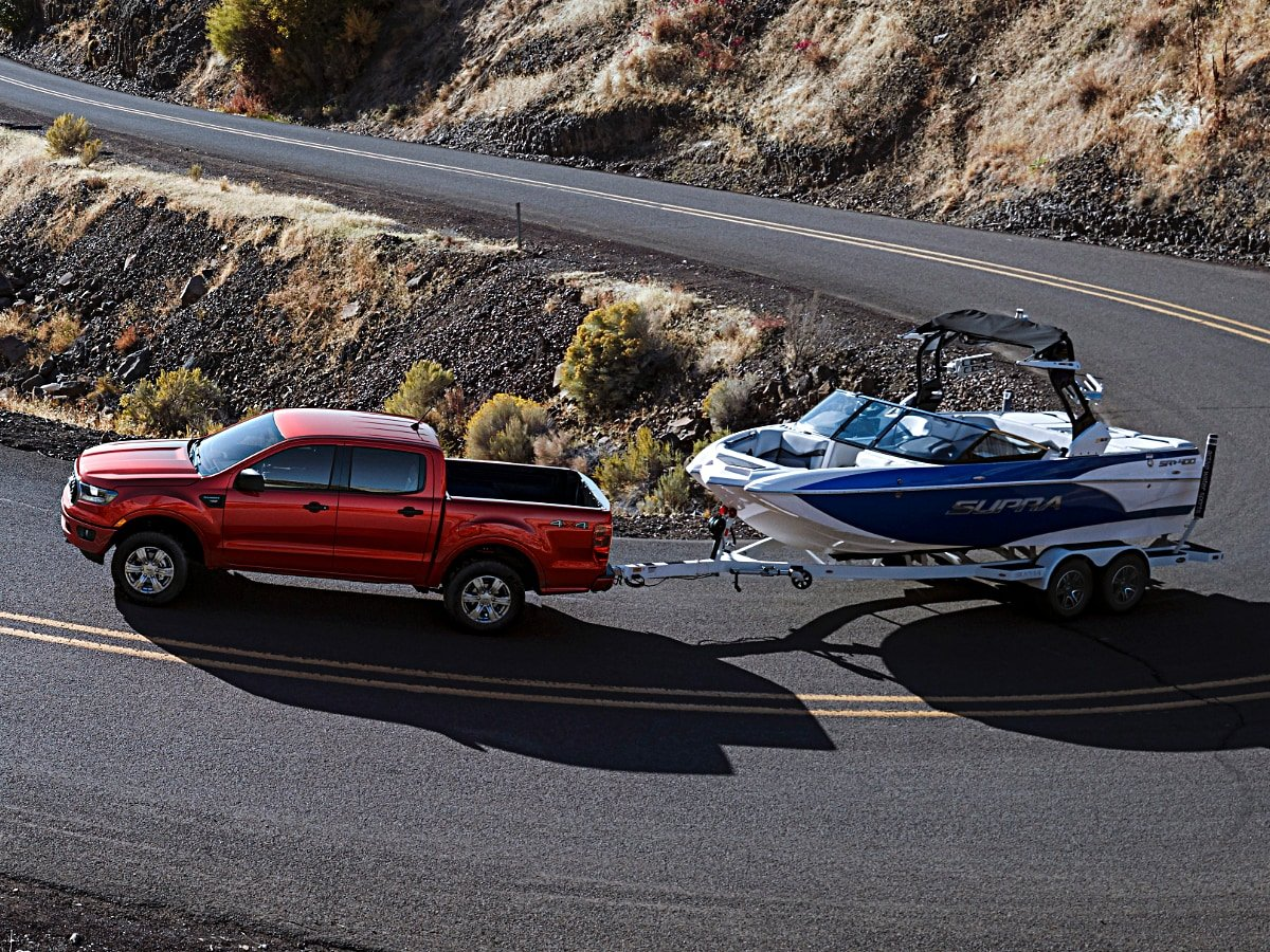 2020 Ford Ranger Towing Boat Side View