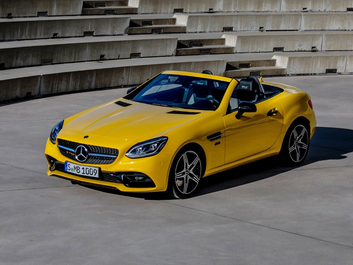 2020 Mercedes-Benz SLC Yellow Top Down Front View