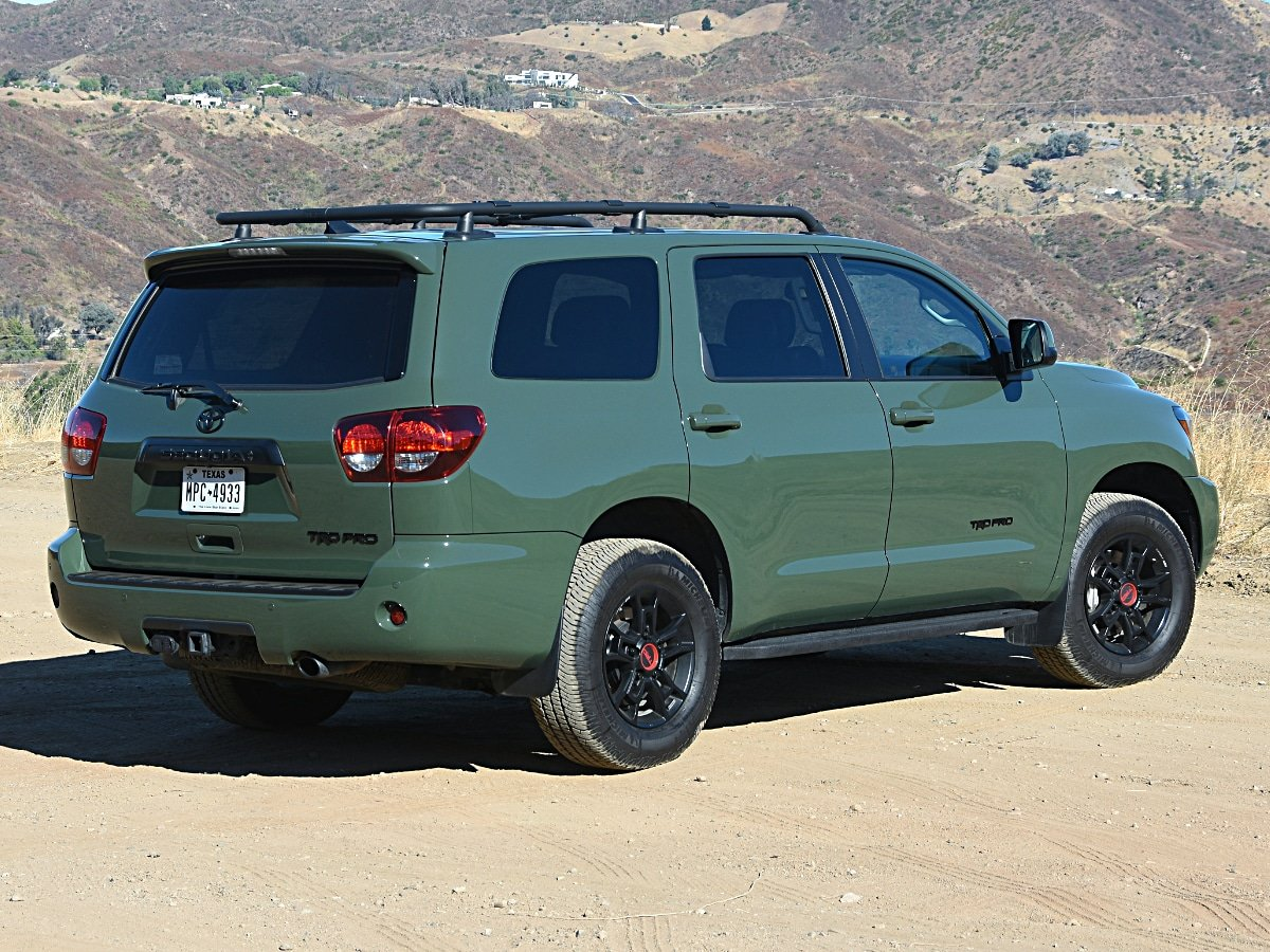 2020 Toyota Sequoia TRD Pro Army Green Rear View
