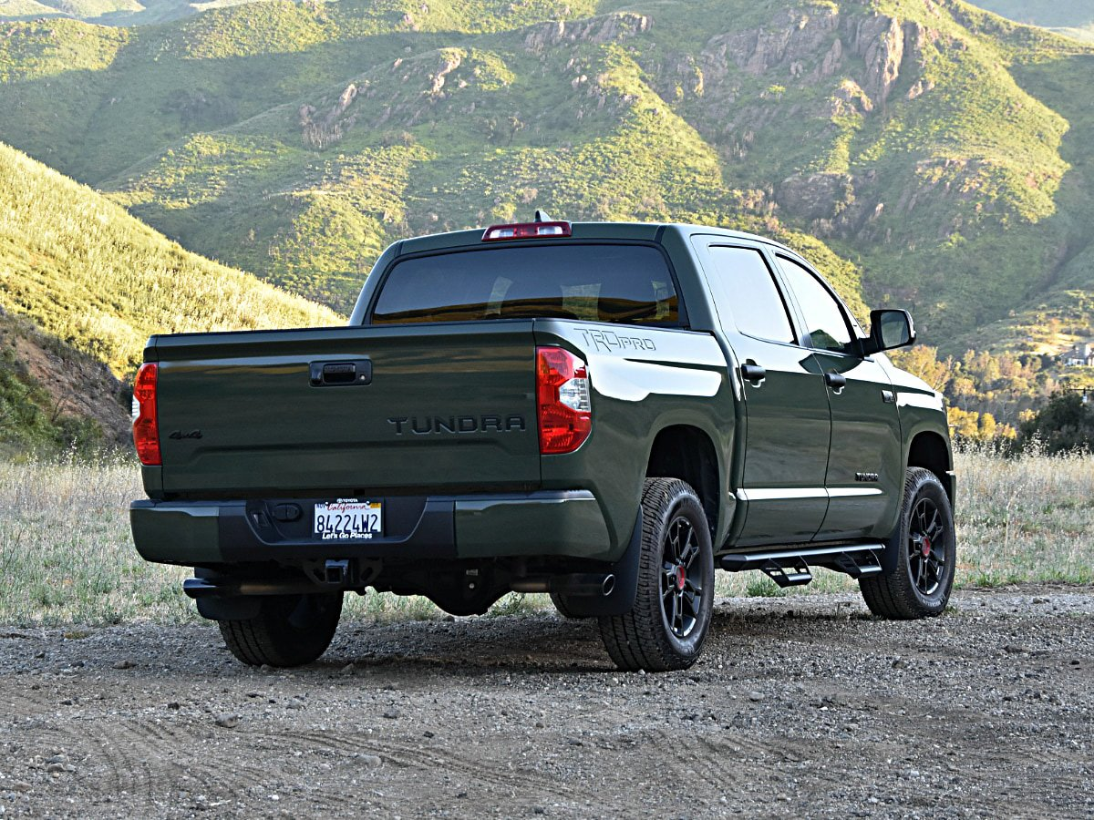 2020 Toyota Tundra TRD Pro Army Green Rear View