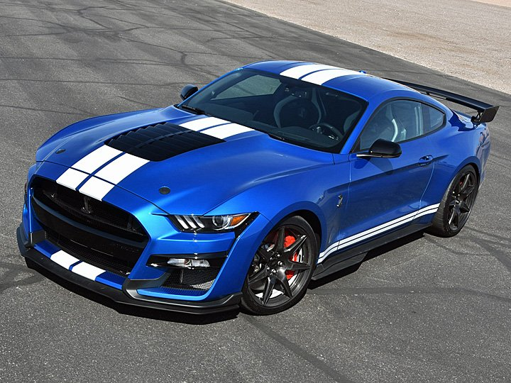 2020 Ford Mustang Shelby GT500 Blue White Stripes Carbon Fiber Track Pack