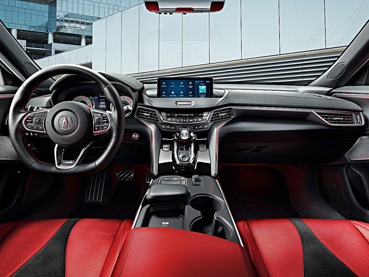 2021 Acura TLX A-Spec dashboard and red leather seats