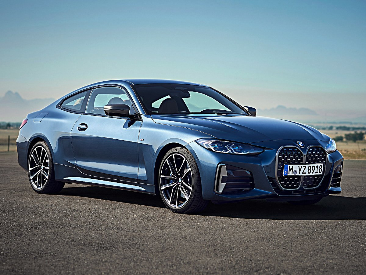2021 BMW 4 Series coupe blue front view
