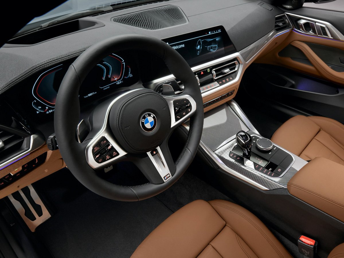 2021 BMW 4 Series coupe dashboard and cognac leather seats