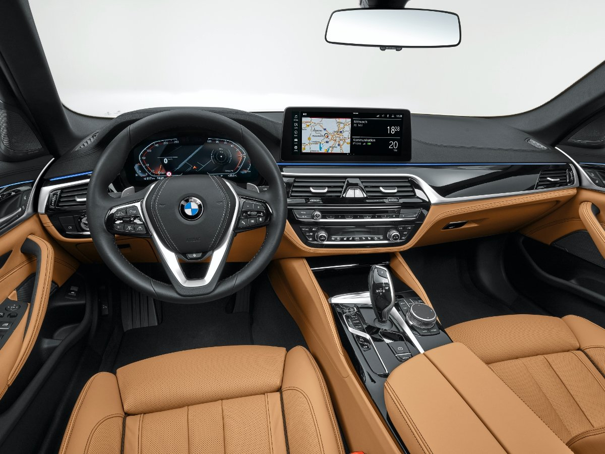 2021 BMW 5 Series Dashboard and Cognac Leather Seats