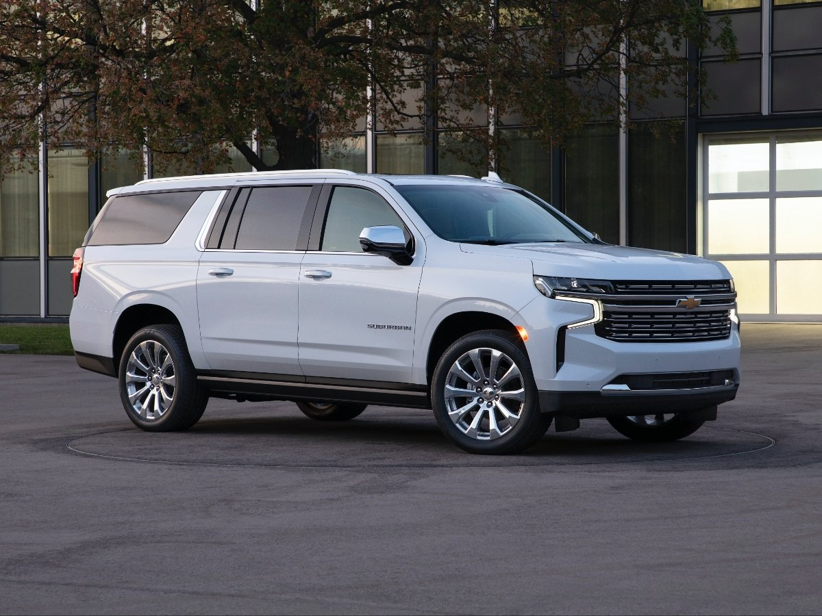 2021 Chevrolet Suburban High Country front and side view in white