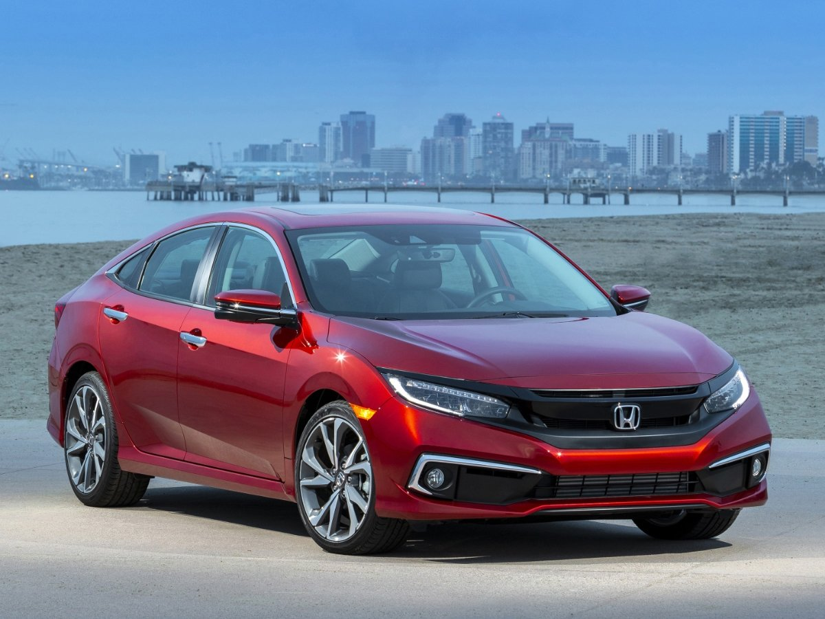 2021 Honda Civic Touring Red Front Quarter View