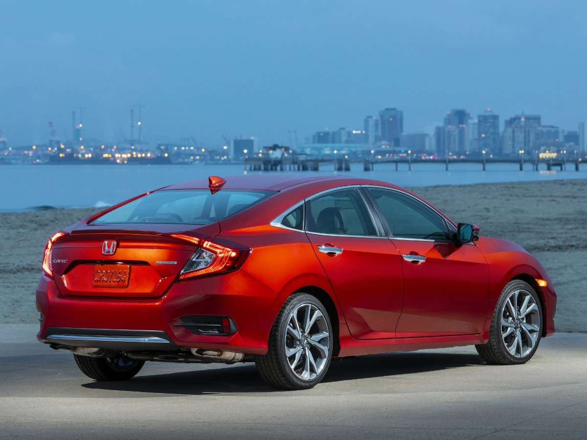 2021 Honda Civic Touring Red Rear Quarter View