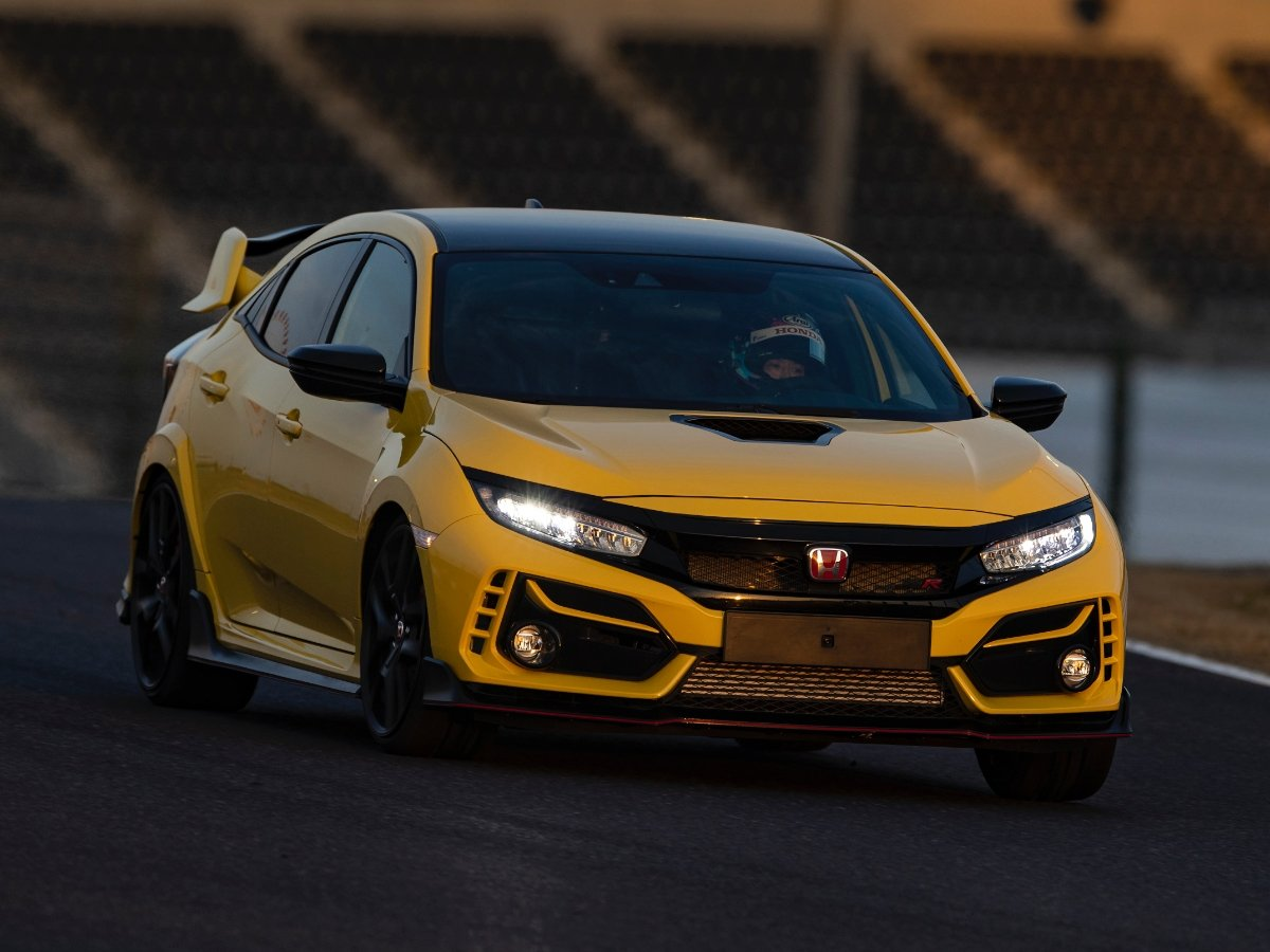 2021 Honda Civic Type R Limited Edition Yellow Driving on Track