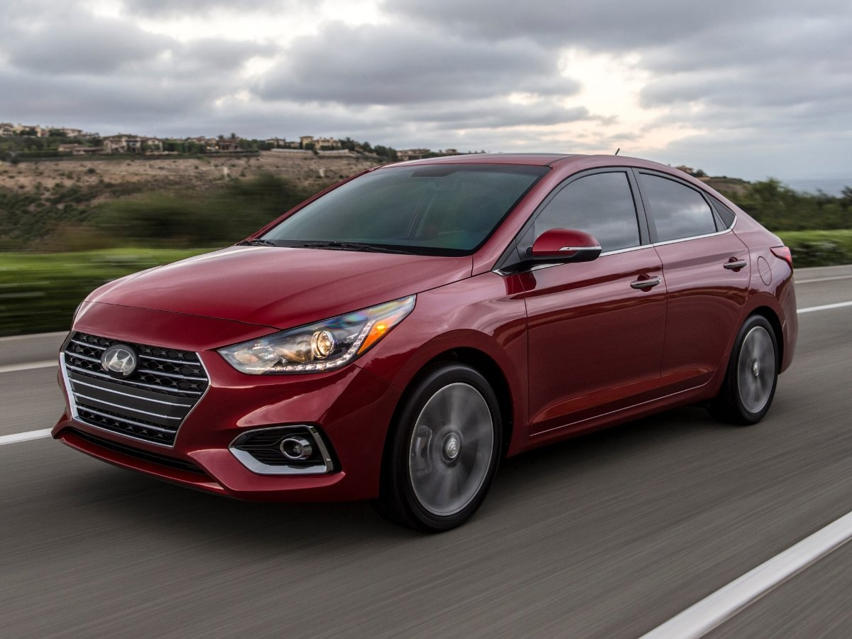 2021 Hyundai Accent Red Front Quarter Action