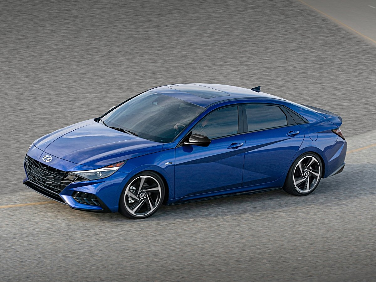 2021 Hyundai Elantra N Line Sedan Blue Front Quarter Action
