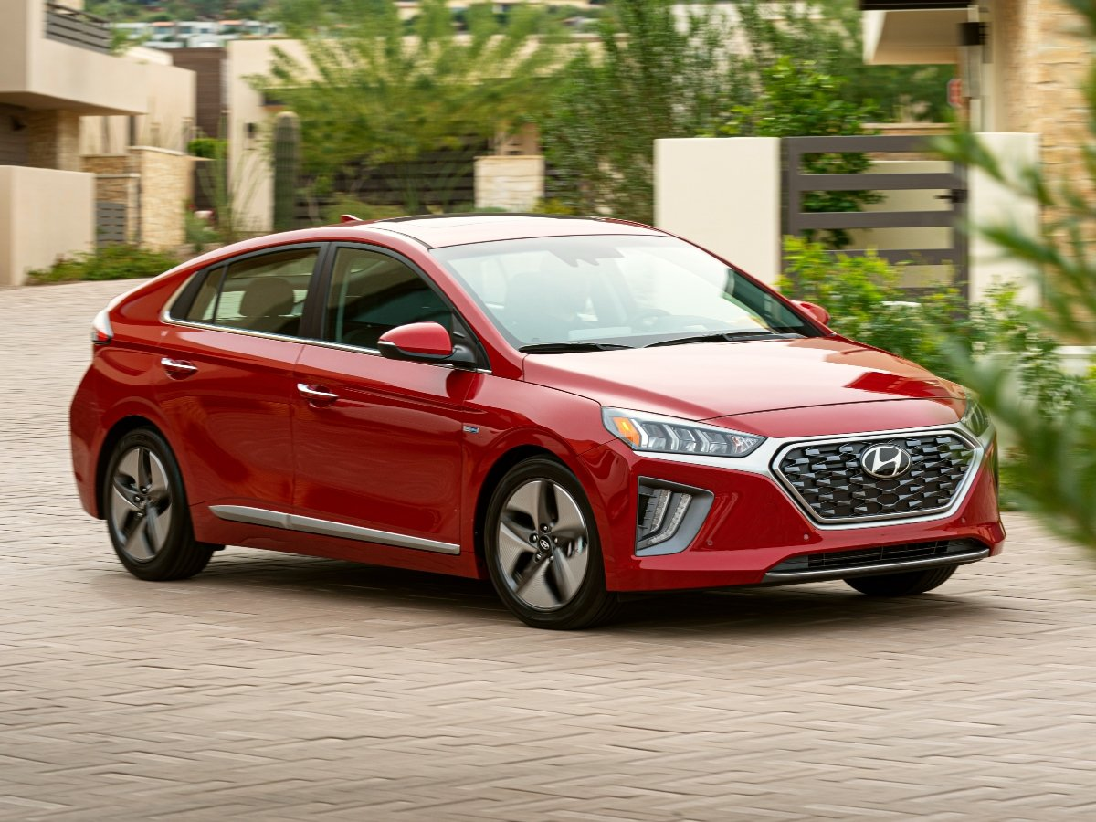 2021 Hyundai Ioniq Hybrid Red Front Quarter Action
