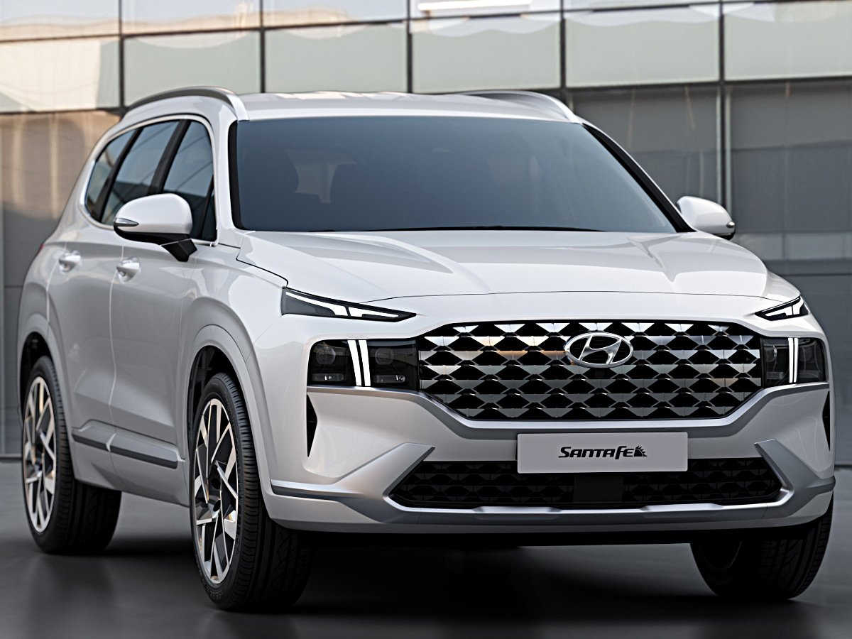2021 Hyundai Santa Fe silver front view with new grille
