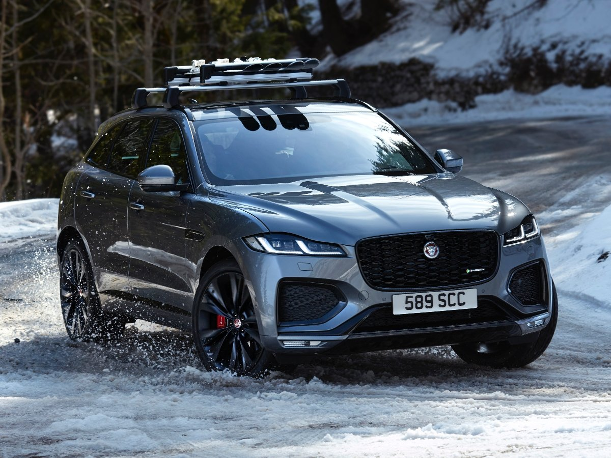 2021 Jaguar F-Pace Gray Front View Driving in Snow