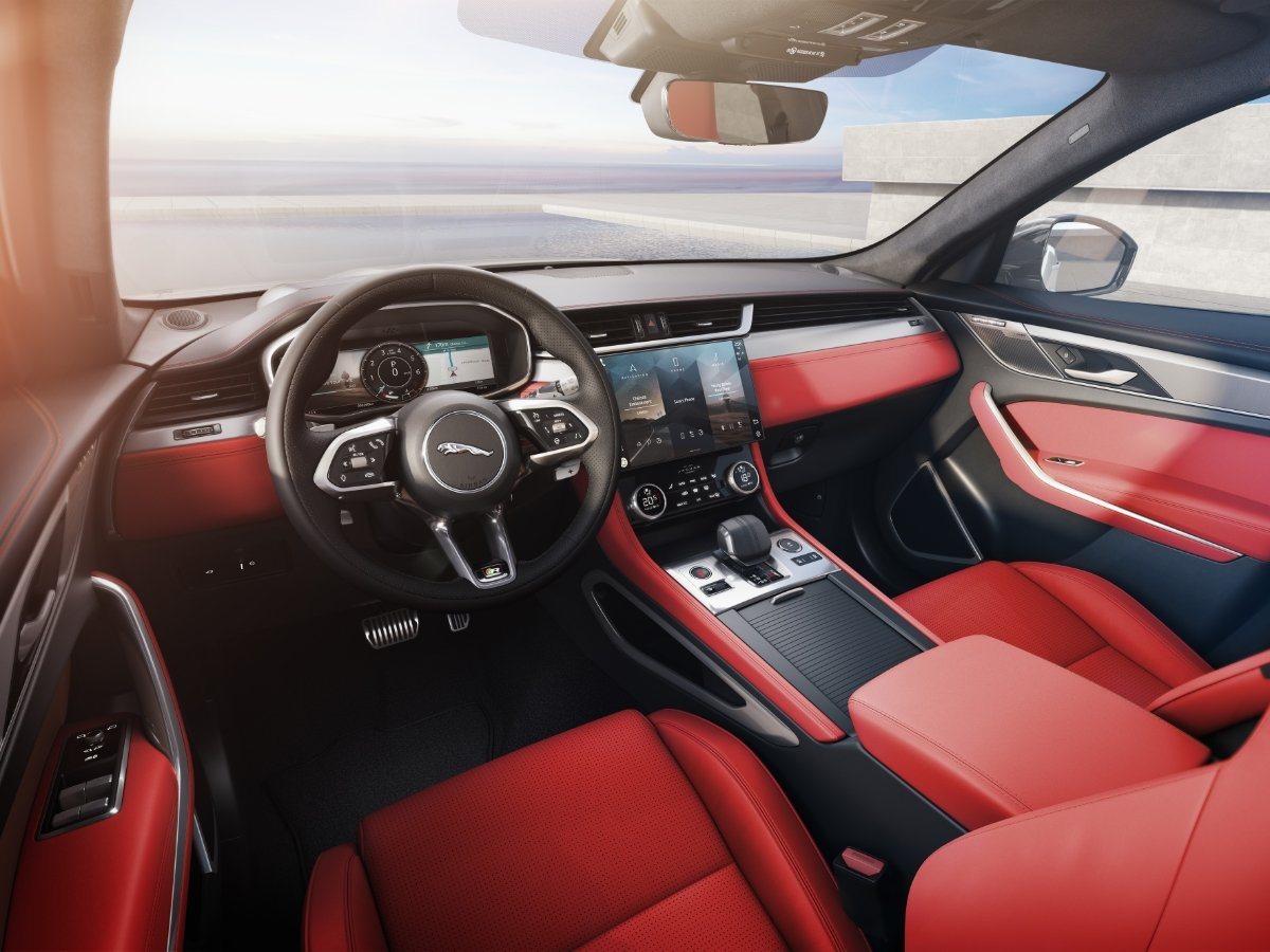 2021 Jaguar F-Pace Red Leather Seats Dashboard