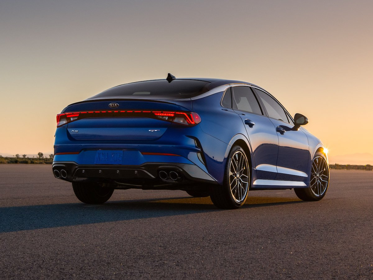 2021 Kia K5 GT Blue Rear Quarter
