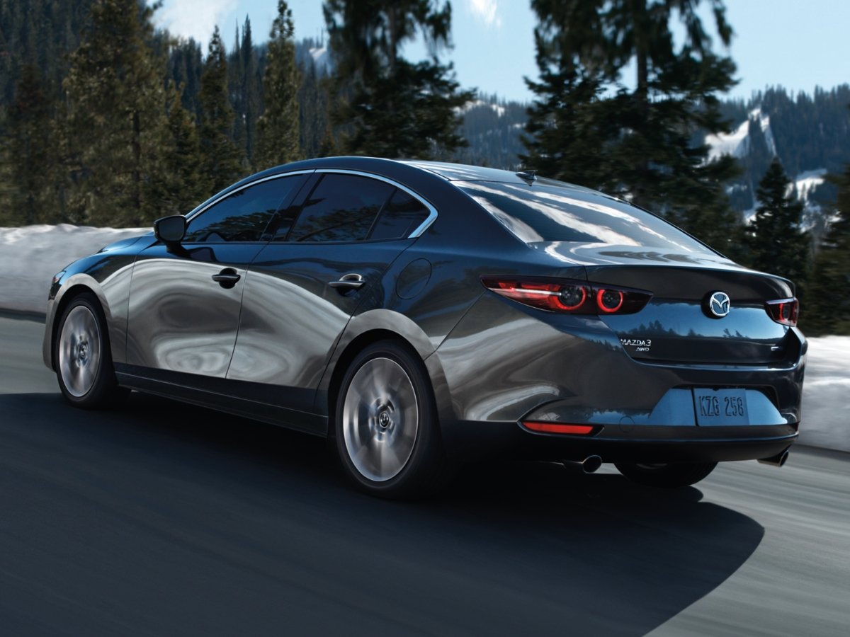 2021 Mazda 3 Premium Sedan Gray Rear Quarter Action