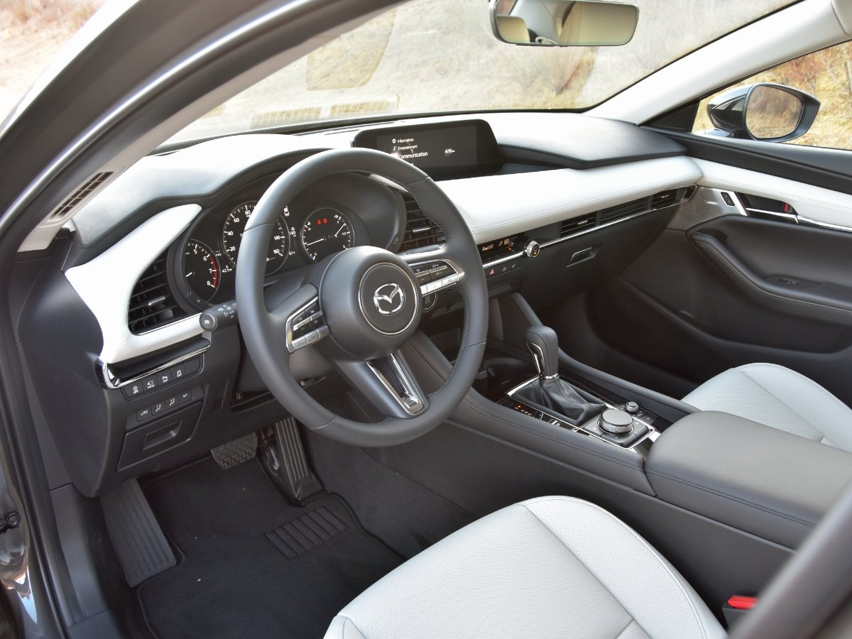 2021 Mazda3 2.5 Turbo Premium Plus Sedan Dashboard White Leather Seats