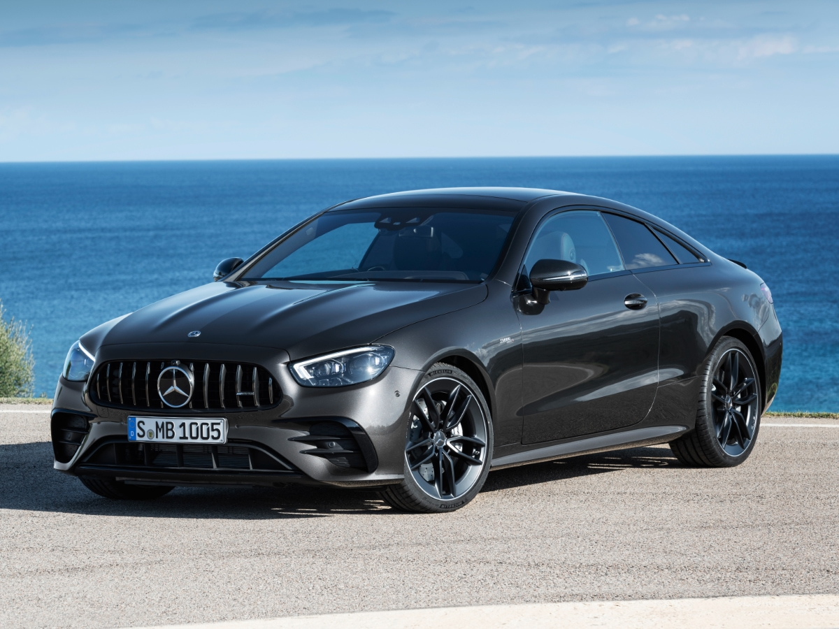 2021 Mercedes-Benz AMG E 53 Coupe gray front view