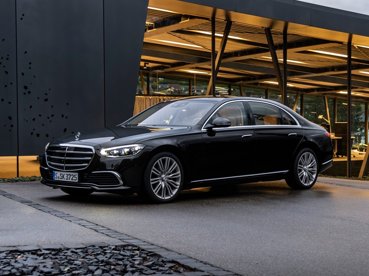 2021 Mercedes-Benz S-Class with EQ Boost Technology Black Front Quarter View