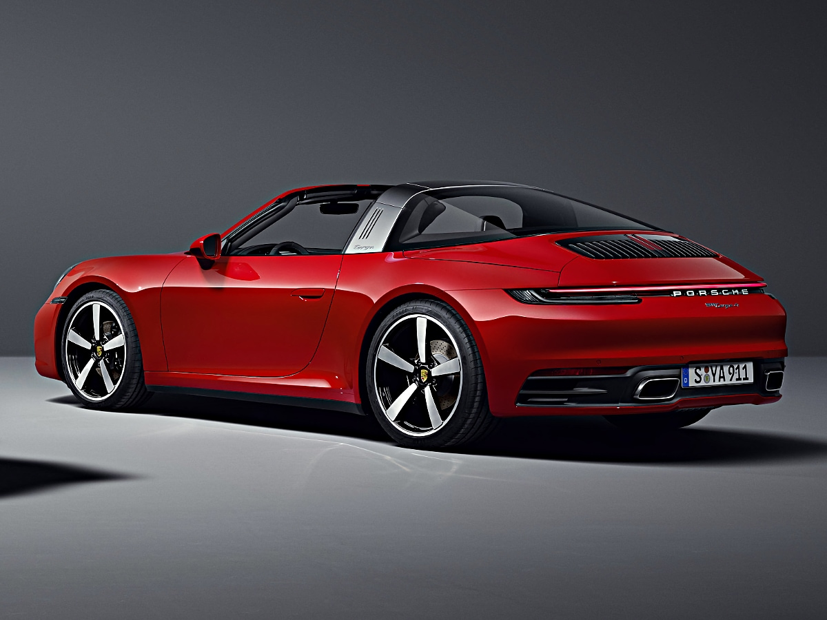 2021 Porsche 911 Targa rear view in red