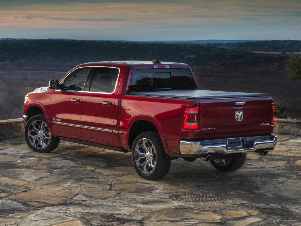 2021 Ram 1500 Limited Red Rear Quarter View
