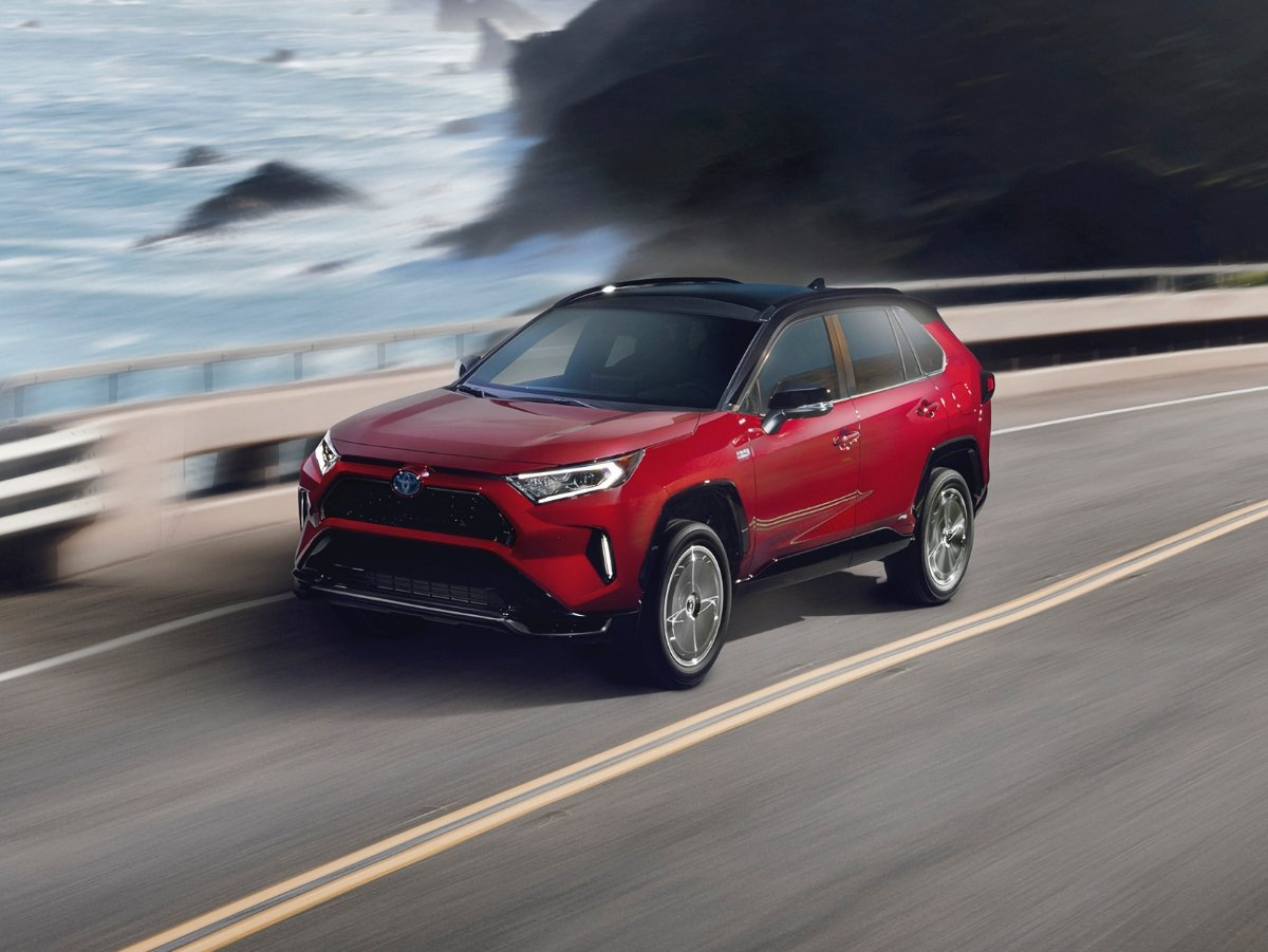 2021 Toyota Rav4 Prime Supersonic front view in red