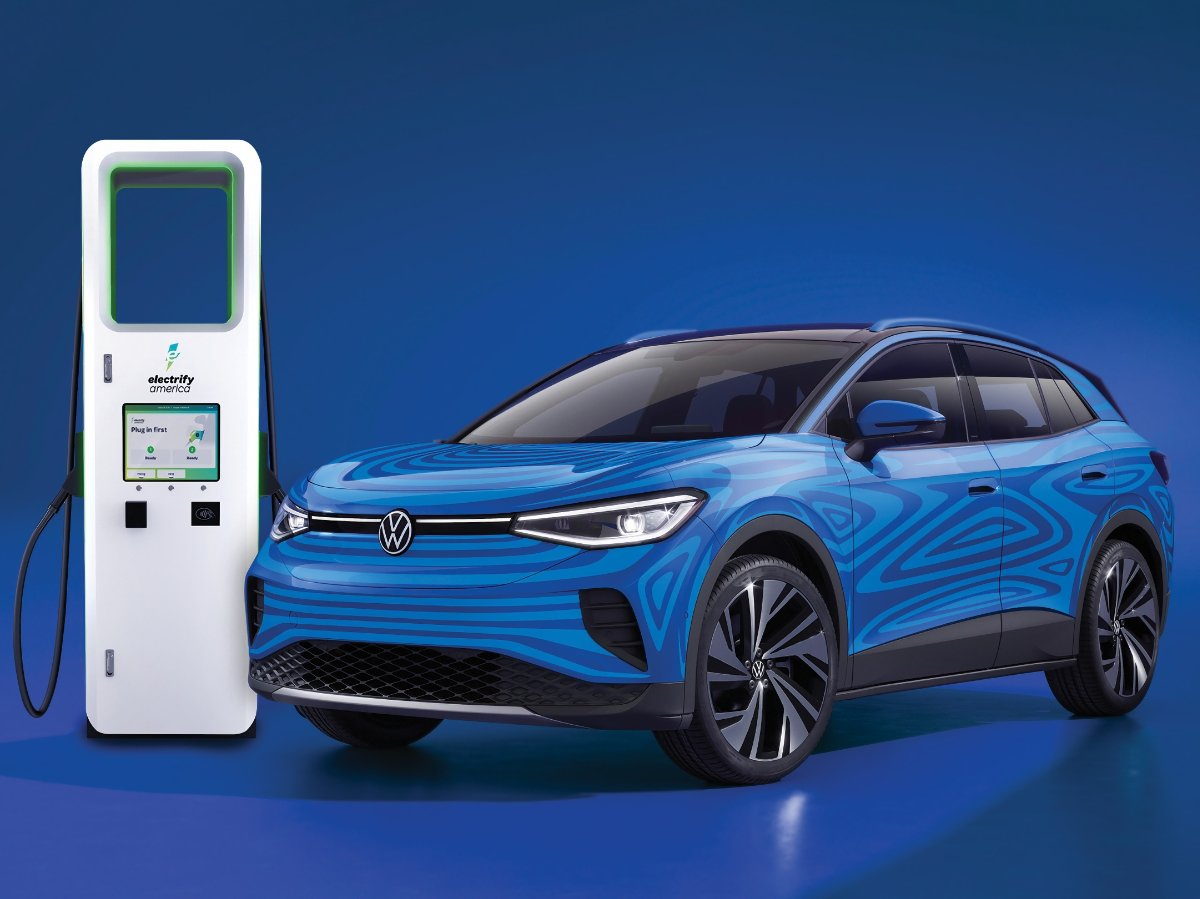 2021 Volkswagen ID.4 and Electrify America Charging Station