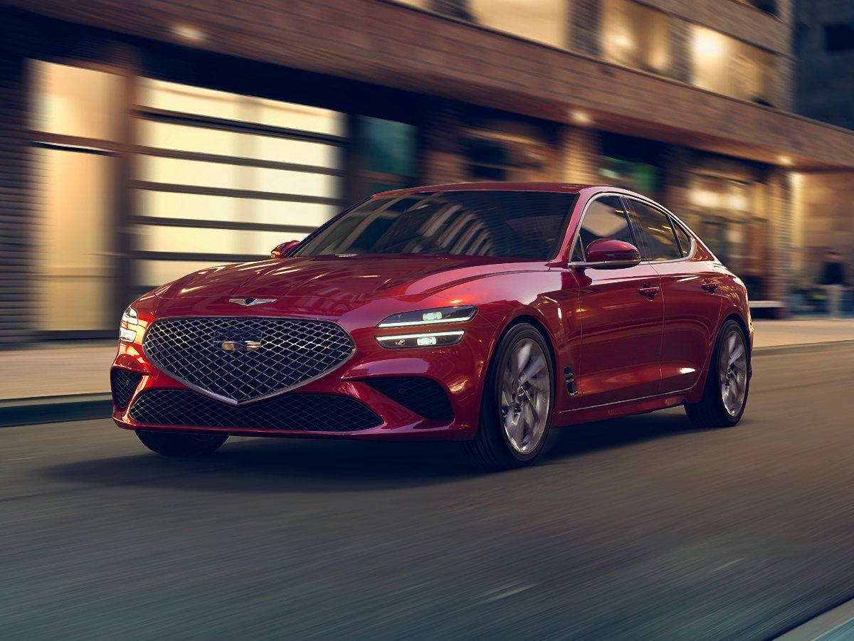 2022 Genesis G70 Red Front Quarter View